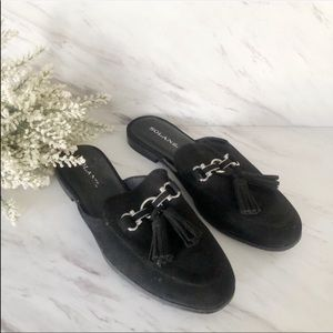 Solanz slide on flat mules with tassels black 8.5